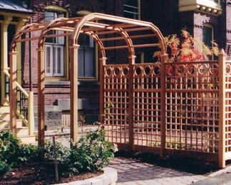 Belmont Garden Arbor and trellis fence.
